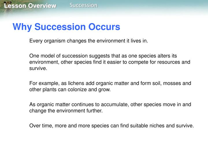 Why Succession Occurs