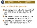 late or missed assignments