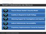 security considerations and obstacles
