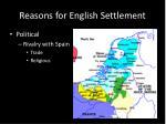 reasons for english settlement2