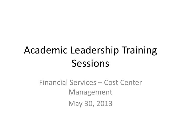 academic leadership training sessions n.