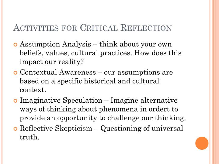 Activities for Critical Reflection