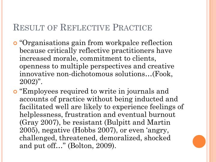 Result of Reflective Practice