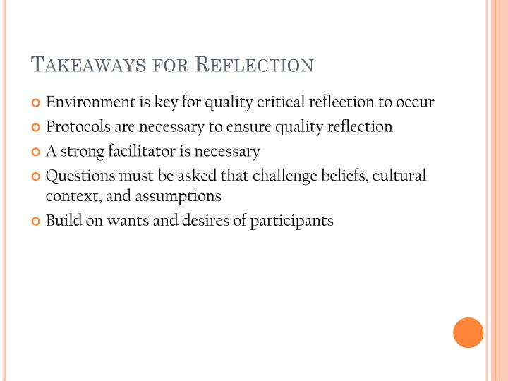 Takeaways for Reflection