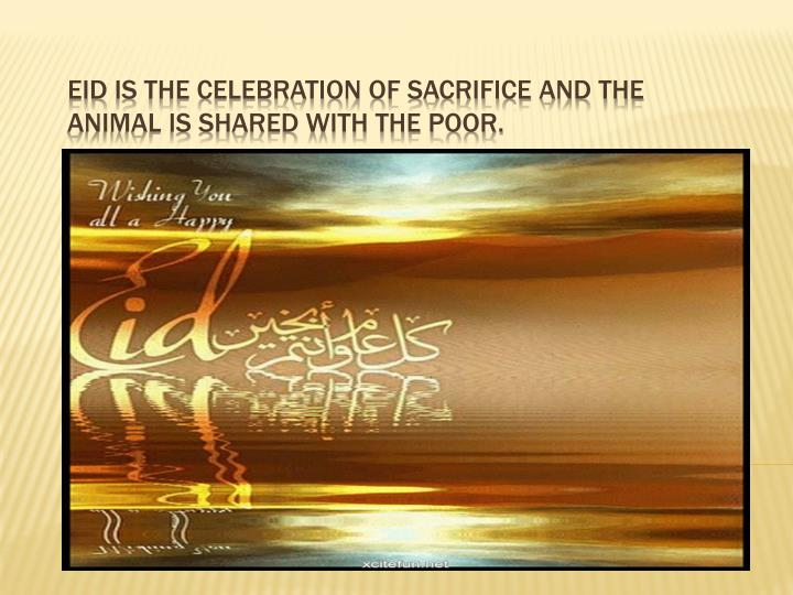 eid is the celebration of sacrifice and the animal is shared with the poor n.