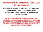 awhonn policy statement on access to health care