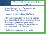 history of fairgrounds site selection
