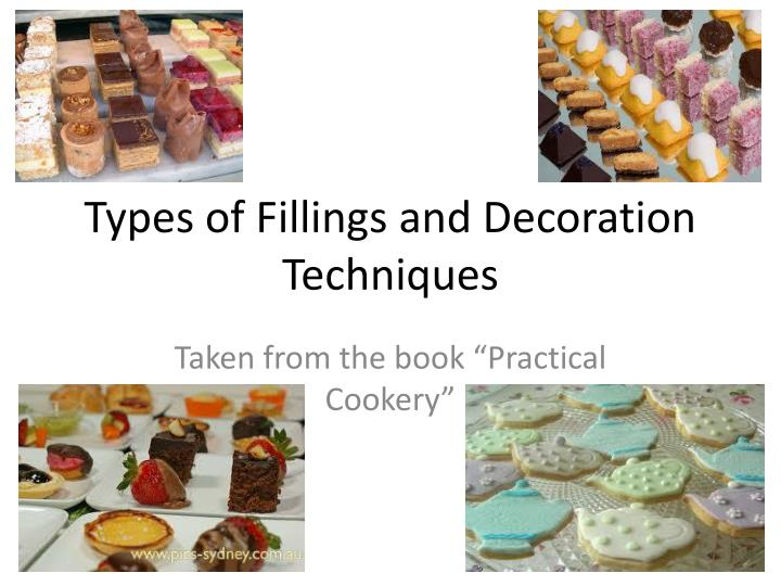 types of fillings and decoration techniques n.