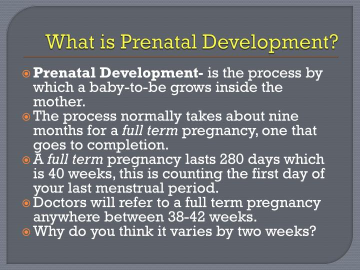 an introduction to the importance of prenatal development Pre-conception care is intended to address the physical and emotional needs of the mother prior to conceiving, so that she can start out her pregnancy in the best possible health if you are ready to start trying to conceive, schedule an appointment with your health care provider for a pre-pregnancy.