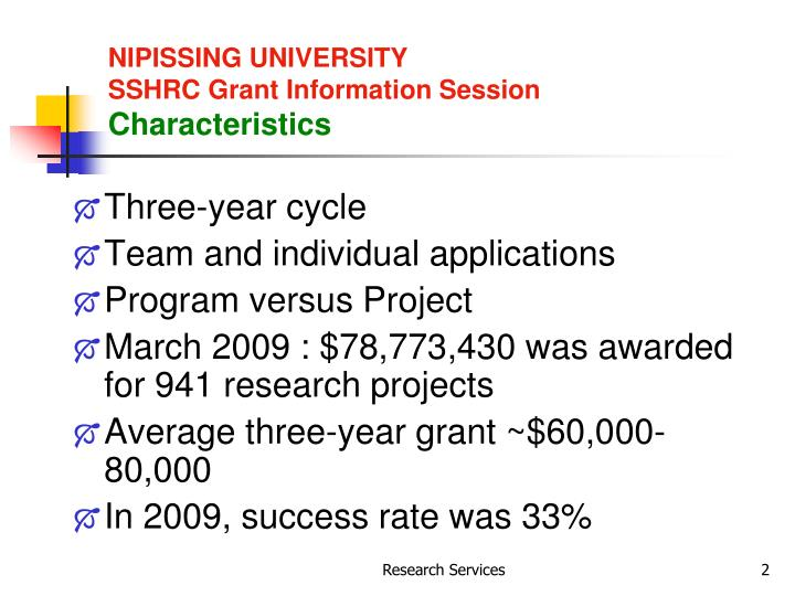 Nipissing university sshrc grant information session characteristics