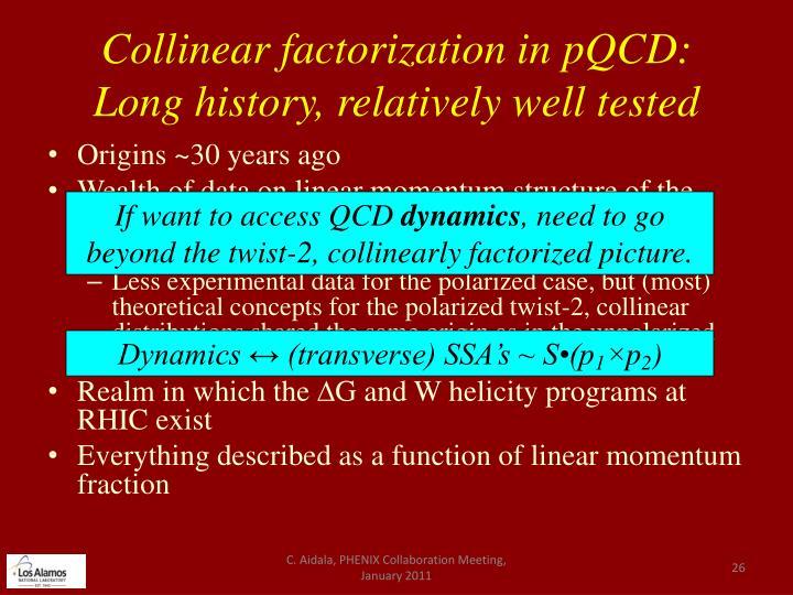 Collinear factorization in