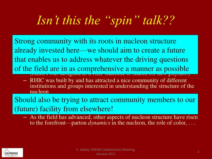 Isn t this the spin talk