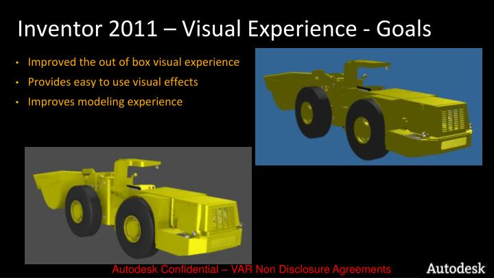 Inventor 2011 – Visual Experience - Goals