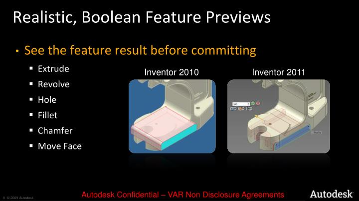 Realistic, Boolean Feature Previews