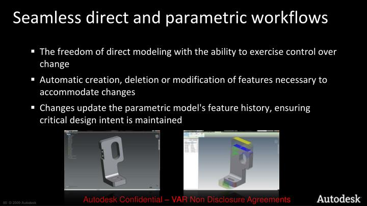 Seamless direct and parametric workflows