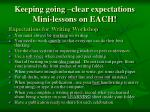 keeping going clear expectations mini lessons on each