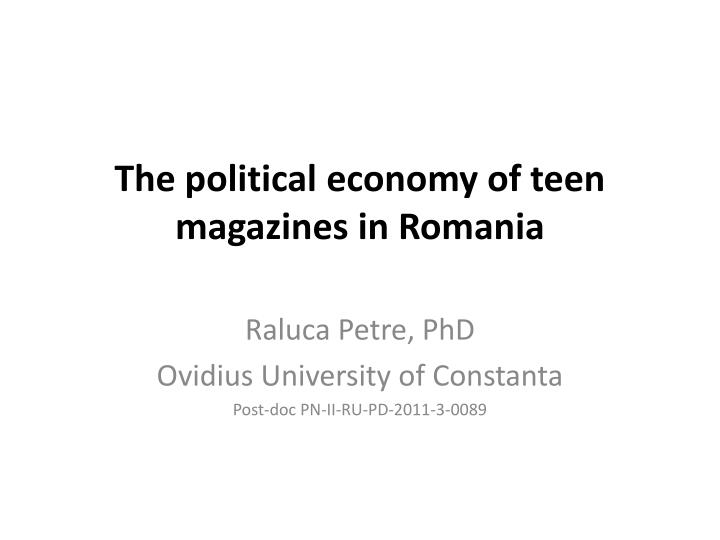 the political economy of teen magazines in romania n.