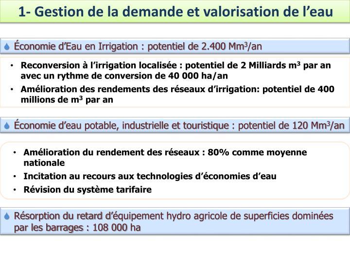 1- Gestion de la demande et valorisation de l'eau