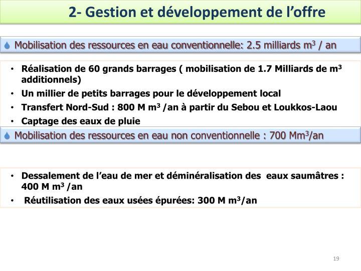2- Gestion et développement de l'offre