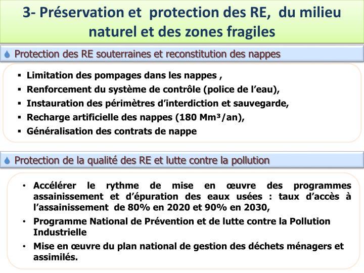 3- Préservation et  protection des RE,