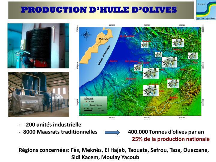 PRODUCTION D'HUILE D'OLIVES