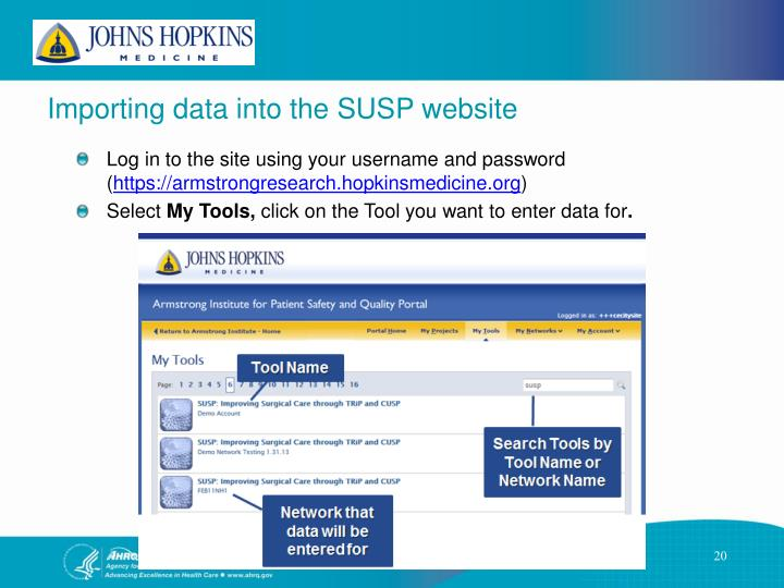 Importing data into the SUSP website