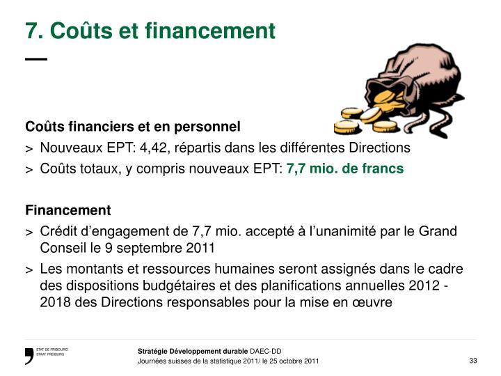 7. Coûts et financement
