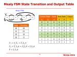 mealy fsm state transition and output table1