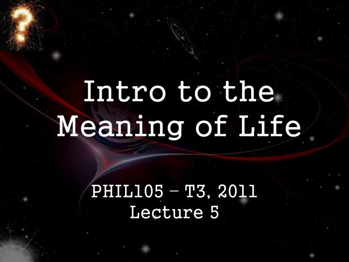 intro to the meaning of life n.