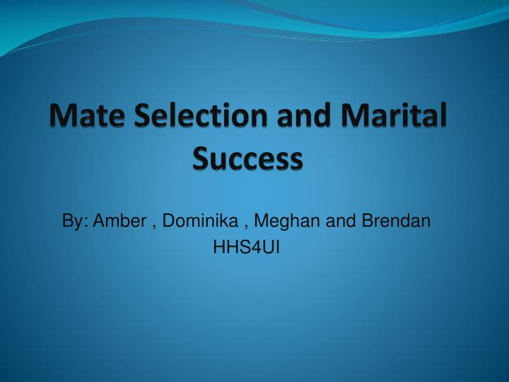 mate selection and marital success n.