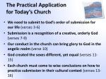 the practical application for today s church