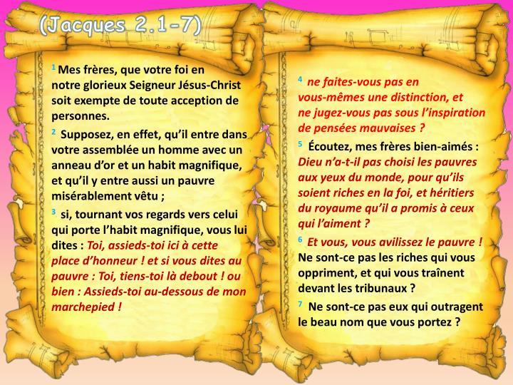(Jacques 2.1-7)