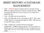 brief history of database mangement