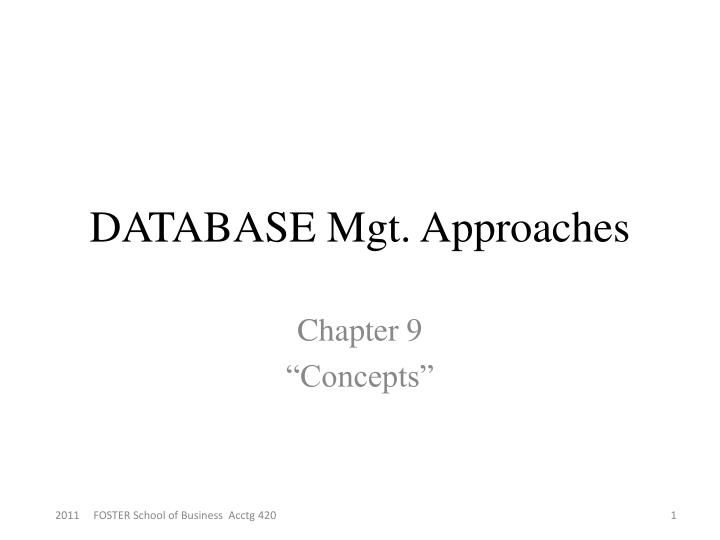 database mgt approaches n.