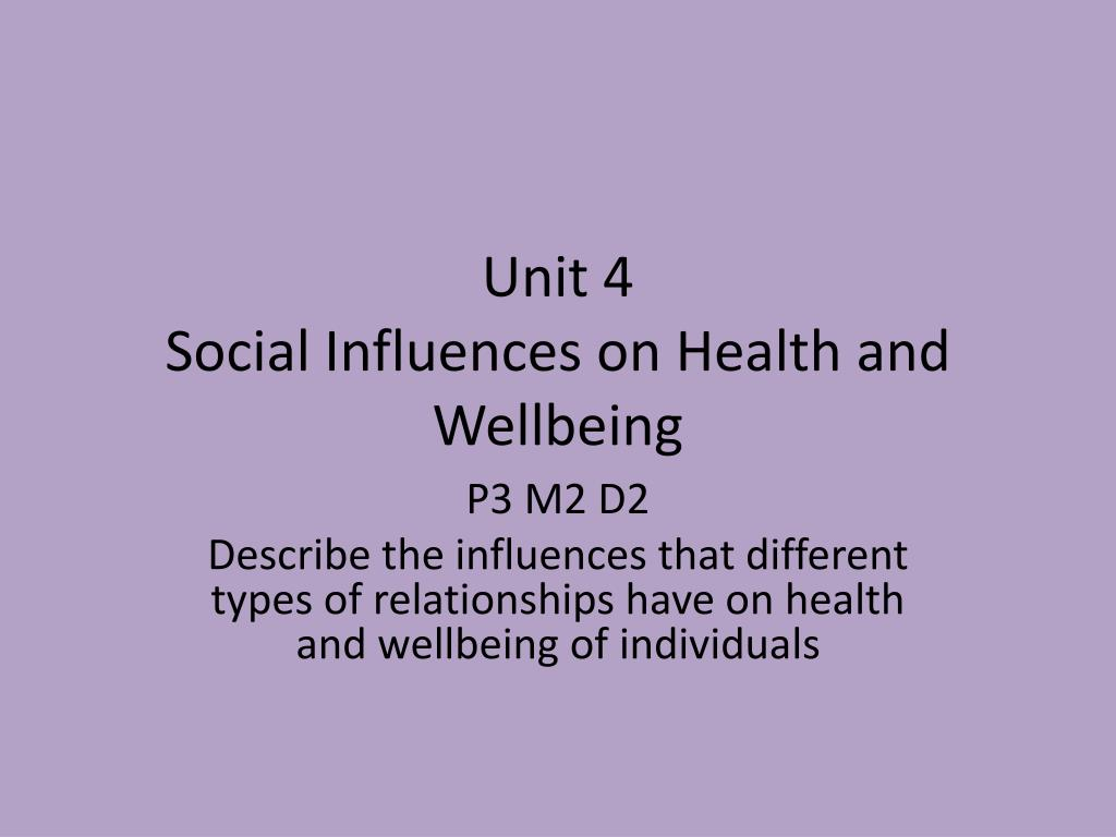 PPT - Unit 4 Social Influences on Health and Wellbeing