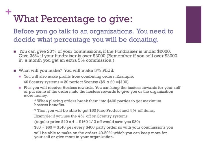 What Percentage to give: