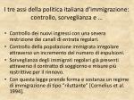i tre assi della politica italiana d immigrazione controllo sorveglianza e