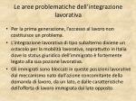le aree problematiche dell integrazione lavorativa