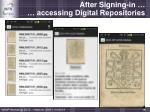 after signing in accessing digital repositories1