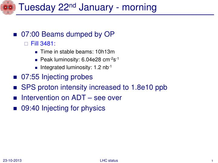 tuesday 22 nd january morning n.