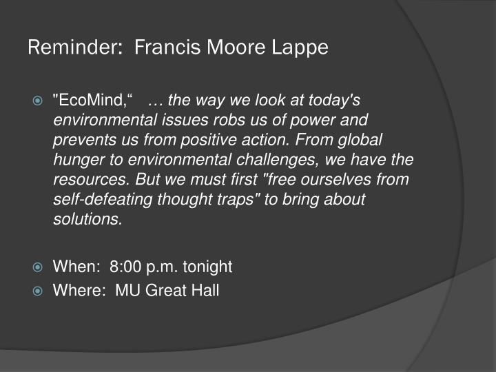 Reminder francis moore lappe