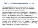 workshop recommendations cont