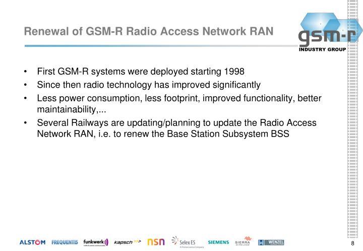 Renewal of GSM-R Radio Access Network RAN