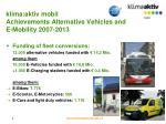 klima aktiv mobil achievements alternative vehicles and e mobility 2007 2013