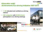 klima aktiv mobil achievements eco driving inititative 2007 2013