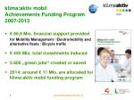 klima aktiv mobil achievements funding program 2007 2013