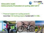 klima aktiv mobil achievements promotion of cycling 2007 2013