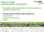 klima aktiv mobil lessons learned conclusions