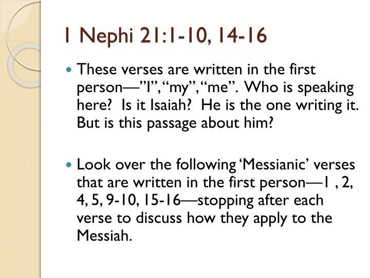 1 Nephi 21:1-10, 14-16
