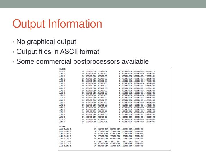 Output Information